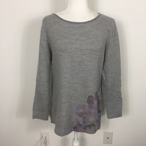 Pendleton Grey Floral 100% Merino Wool Sweater